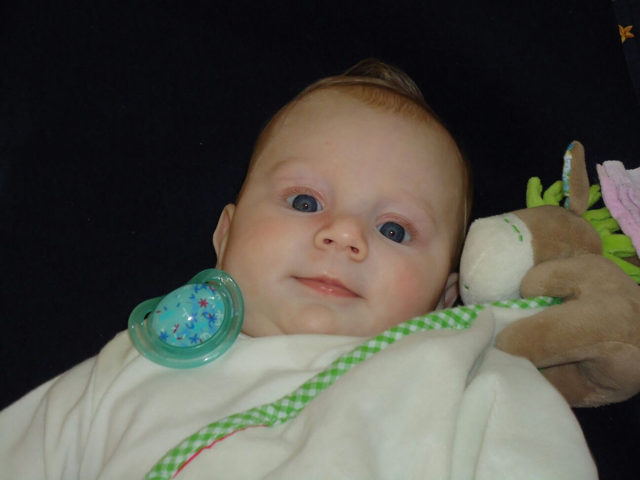 Baby mit Stoffesel